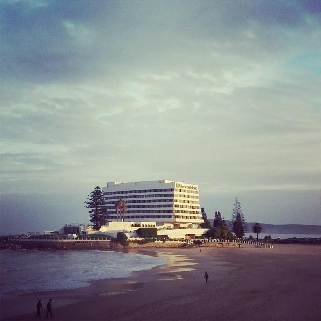 In the spotlight @beaconisle hotel #Plett summer evenings. #plettitsafeeling #gardenroute #sunsets #iconicbuildings
