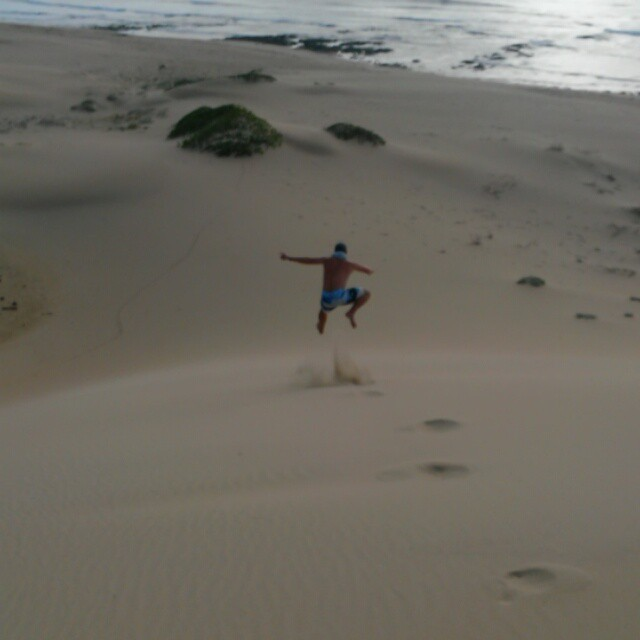 There are few things in this world that beat running down a huge dune and letting gravity take control. These are #EasternCape dunes! Untouched. Perfect. Can't help but giggle.  #SunshineCoast #travelsouthafrica #beach #loveSA #meetsouthafrica